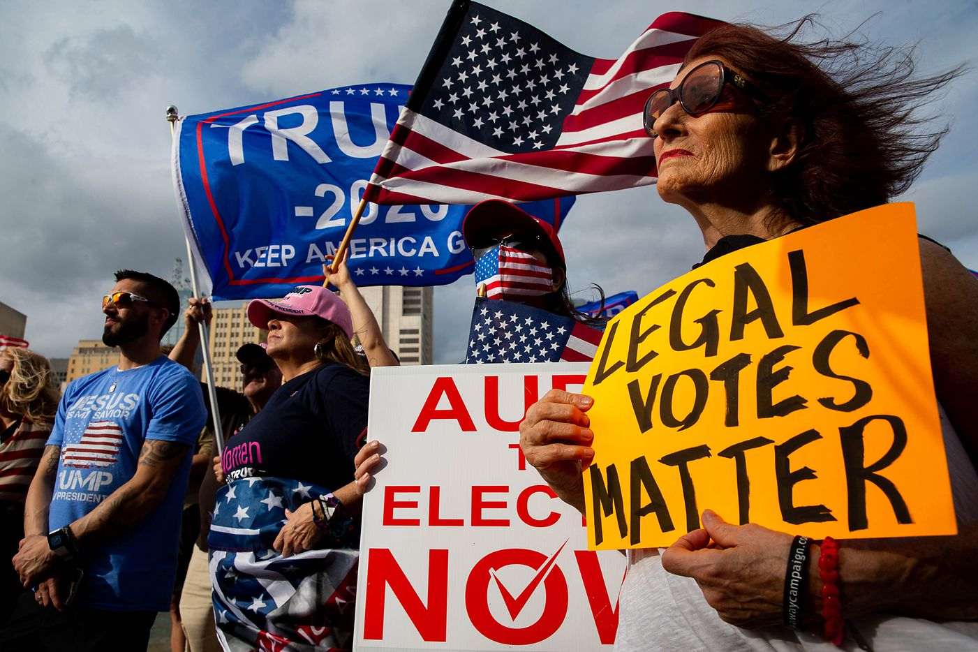 Susan Christenson of Plano holds a 'Legal Votes Matter' sign during a Don't Steal the Vote rally in support of President Donald Trump in front of Dallas City Hall on Saturday, Nov. 14, 2020.