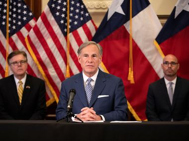 "Gov. Greg Abbott promises an announcement Monday that will allow for the reopening of a ""massive amount of businesses,"" in a safe way that is guided by data and doctors. He is shown here with Lt. Gov. Dan Patrick (left) and Speaker Dennis Bonnen on April 17, when Abbott announced a panel to advise him on reopening the state."