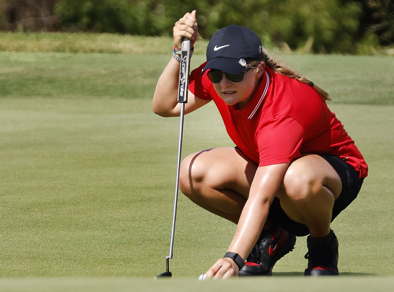 Amateur golfer Avery Zweig, 14, of McKinney during her opening round of the LPGA VOA Classic at the Old American Golf Club in The Colony, Texas, Thursday, July 1, 2021. (Tom Fox/The Dallas Morning News)