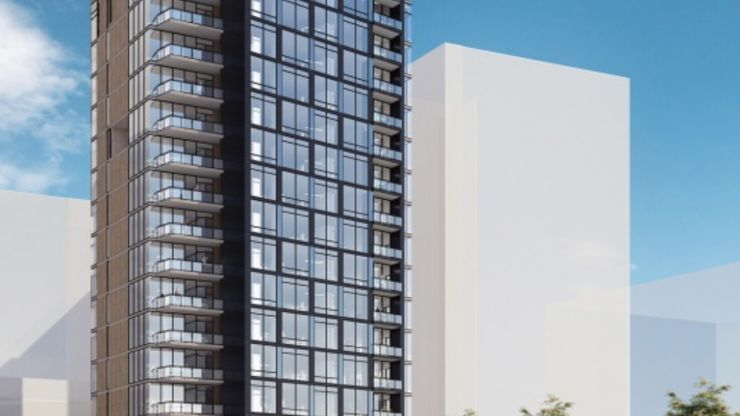 A high-rise development plan for the property that was included in JLL's marketing of the site.