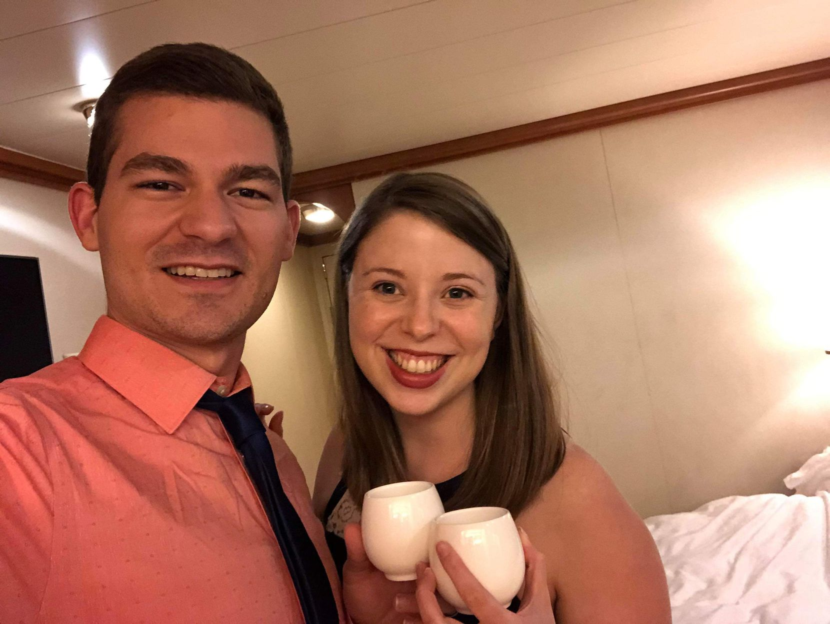 Rachel and Tyler Torres celebrated Valentine's Day quarantined in their room on the Diamond Princess cruise ship.