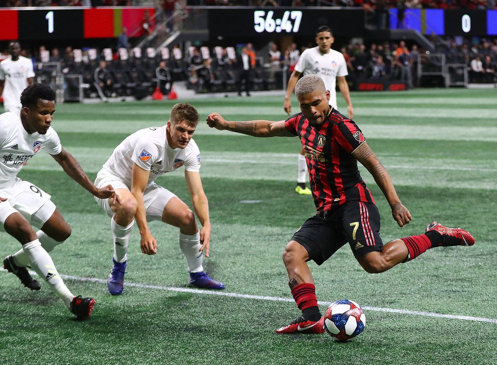 Atlanta United midfielder Josef Martinez takes a shot on goal, which is blocked by FC Cincinnati, during the second half on Sunday, March 10, 2019, in Atlanta, Ga. (Curtis Compton/Atlanta Journal-Constitution/TNS)