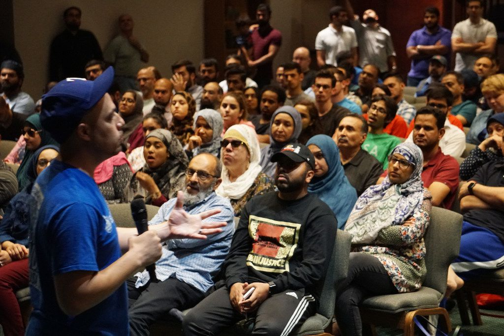 Islamic Relief USA programs coordinator Abdullah Shawky led disaster relief training at the MAS Center in Richardson on Monday. The participants will help with Harvey evacuees coming to the area.