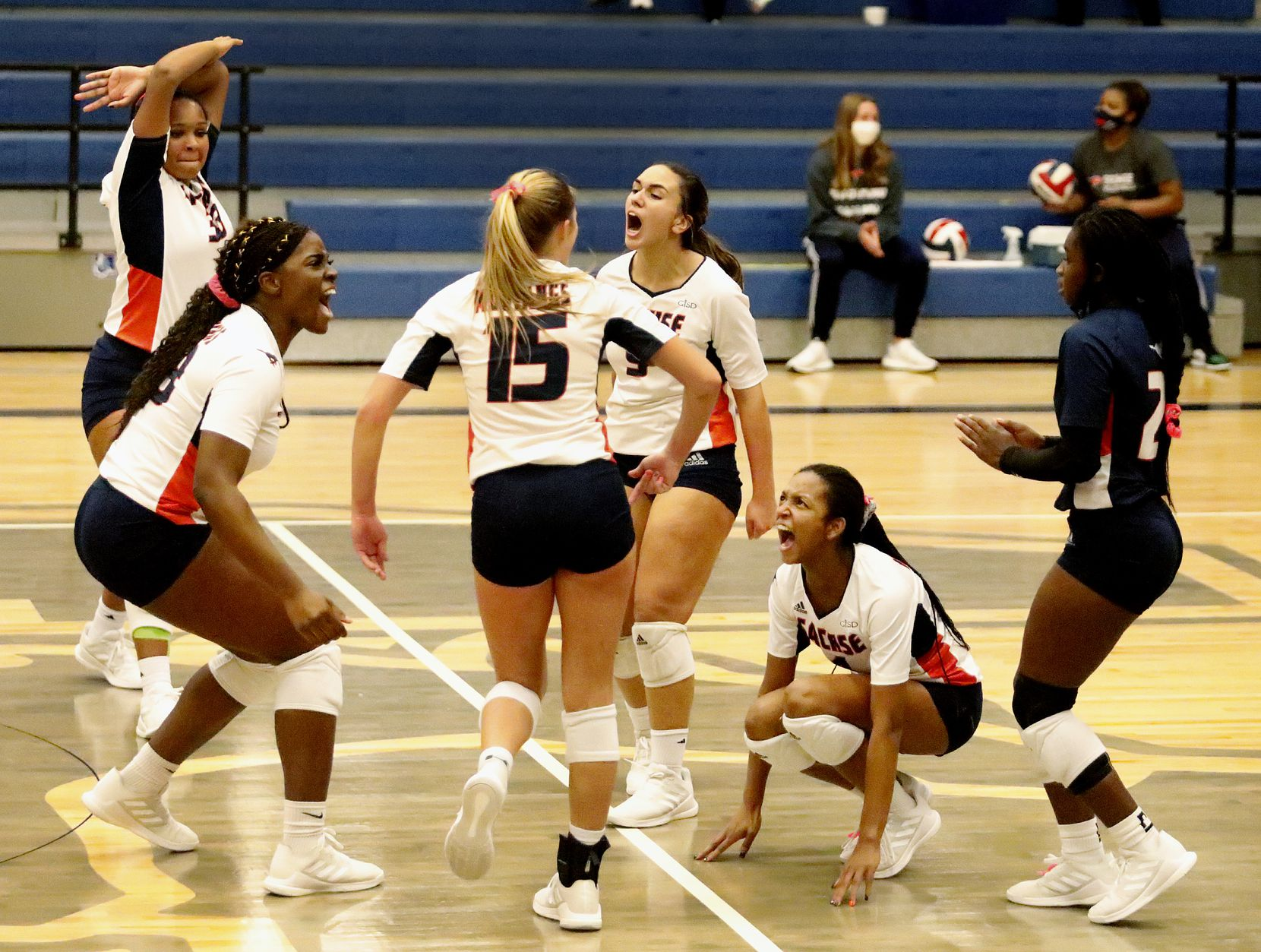 Sachse High School celebrates scoring a crucial point during game three as Sachse High School hosted Wylie High School in a District 9-6A volleyball match on Tuesday, October 27, 2020.