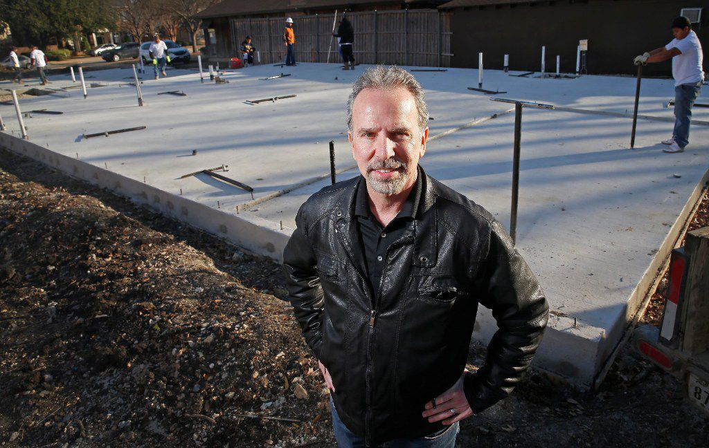 Jim Fontaine, CEO of Tella Firma, poses for a photograph in front of the suspended foundation of a home construction site in Dallas, Tuesday, Jan. 24, 2017. A technology that Tella Firma uses protects the foundation from damaging active soil movement with a green installation process to avoid the need for any type of chemical or water injection into the soil under the foundation. (Jae S. Lee/The Dallas Morning News)
