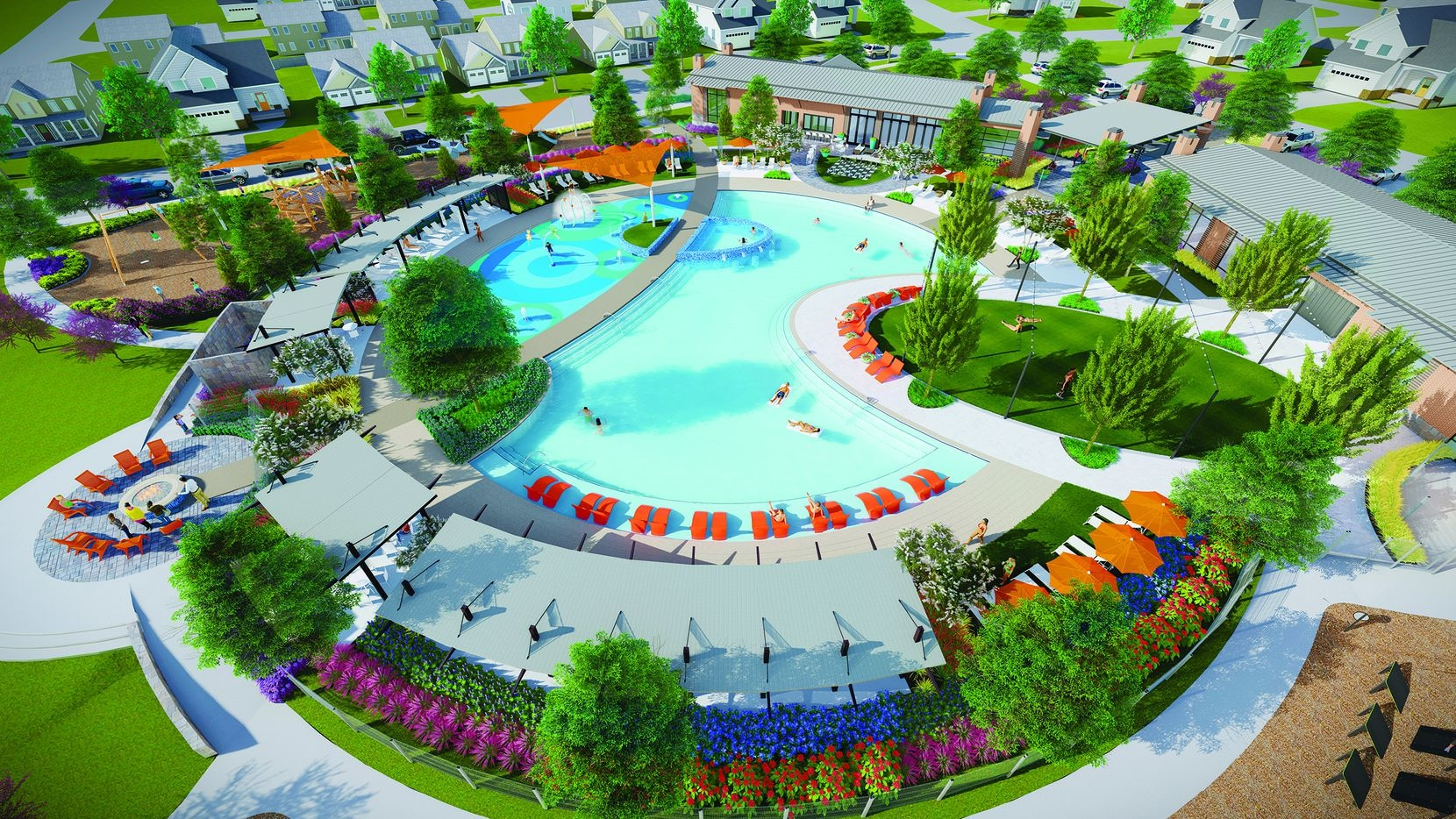 This artist's rendering shows the 4-plus-acre amenity complex at The Ridge at Northlake. It will have a circular pool, splash park, fitness centers and more.