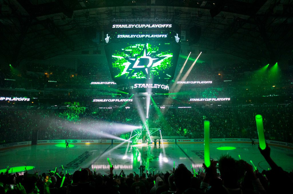 A laser light show opens Game 3 of a playoff series between the Dallas Stars and the Nashville Predators on Monday, April 15, 2019 at American Airlines Center in Dallas. (Ashley Landis/The Dallas Morning News)