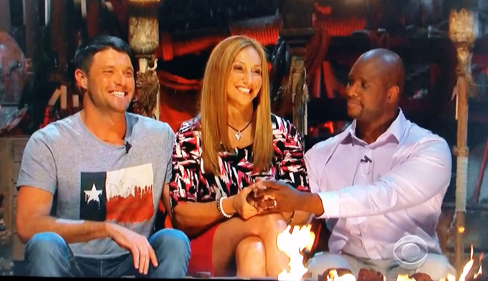 "The final three -- Mike, Carolyn and Will -- of ""Survivor: Worlds Apart."""