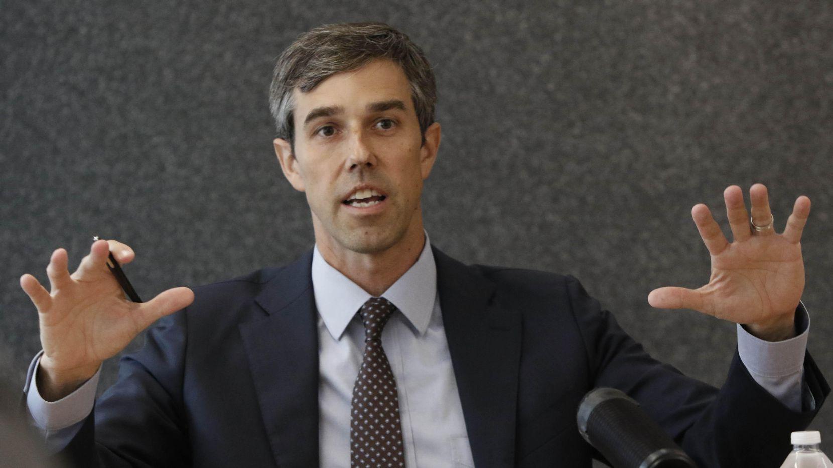 El congresista demócrata Beto O'Rourke expuso sus temas de campaña en reunión con la junta editorial de The Dallas Morning News y Al Día. (DMN/IRWIN THOMPSON)