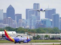 A Southwest Airlines 737 lands at Dallas Love Field on April 14, 2020.