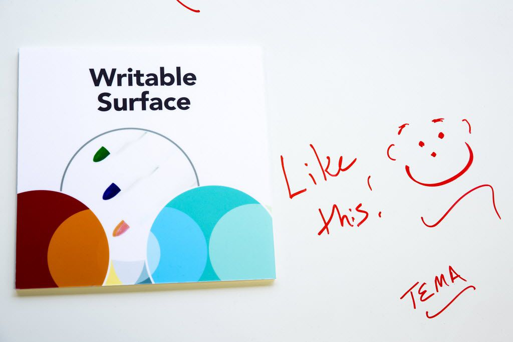 A writable surface on a table in an area furnished by Knoll. (Smiley N. Pool/The Dallas Morning News)
