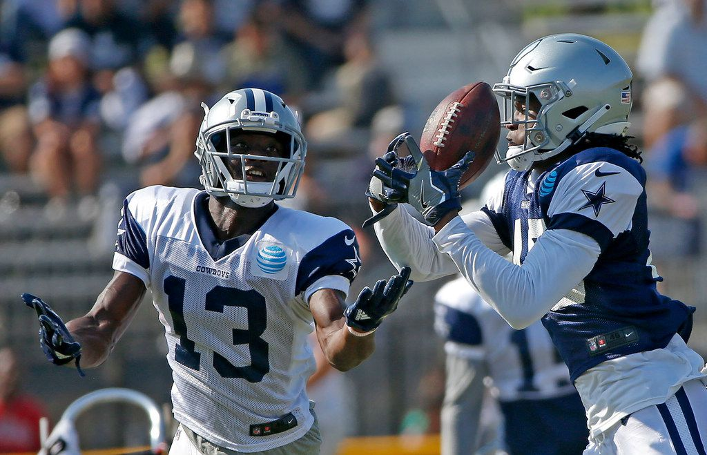 Dallas Cowboys cornerback Charvarius Ward (40) intercepts a pass intended for wide receiver Michael Gallup during the afternoon practice at the training camp in Oxnard, Calif., Saturday, Aug. 4, 2018. (Jae S. Lee/The Dallas Morning News)