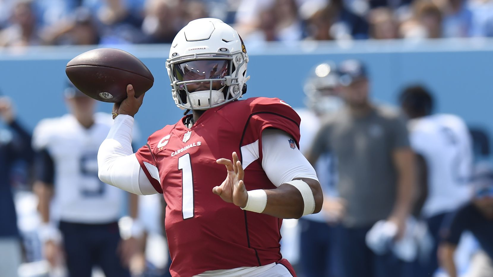 Arizona Cardinals quarterback Kyler Murray, who is from Allen, passes against the Tennessee Titans in the first half of an NFL football game Sunday, Sept. 12, 2021, in Nashville, Tenn.