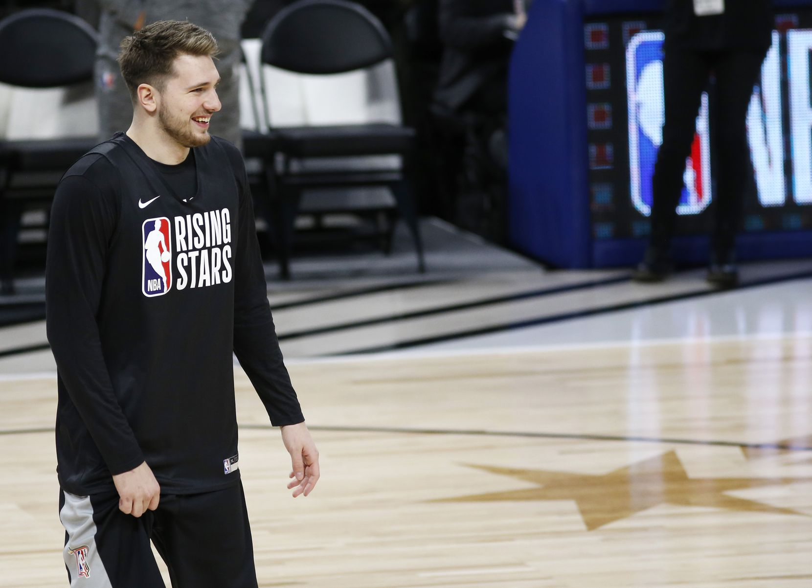 Dallas Mavericks forward Luka Doncic (77) smiles during the NBA Rising Stars practice for the World Team at Wintrust Arena during the NBA All Star 2020 event in Chicago on Friday, February 14, 2020.