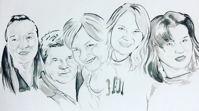 This painting was a 2019 Christmas gift to Carole Boatright. From left are Paige, Clay, Carole, Blaire and Mia.