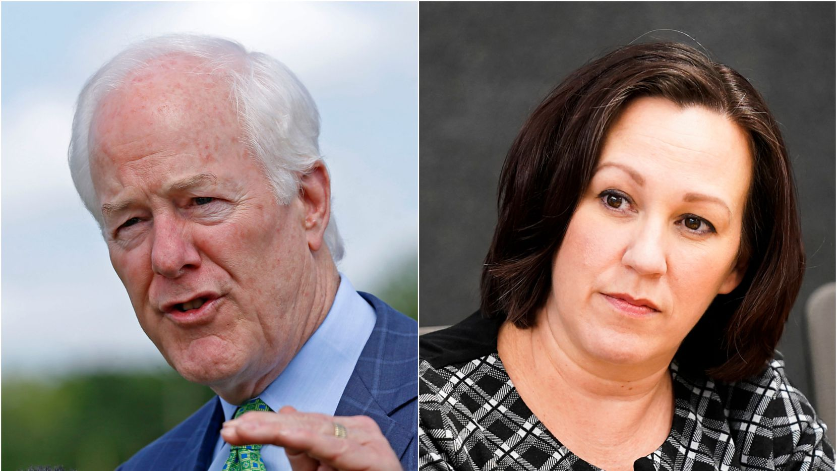 Sen. John Cornyn, left, outside the federal prison in  Seagoville, Texas, on May 11, 2018. At right, M.J. Hegar meeting with The Dallas Morning News editorial board on Feb. 5, 2020. (Jae S. Lee and Smiley N. Pool/staff)