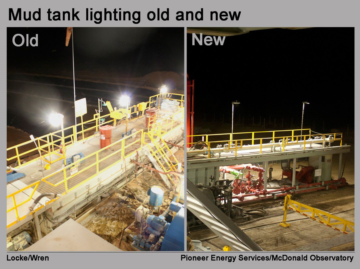 Before and after pictures of Pioneer Energy Services equipment outfitted with dark-skies compliant lighting.