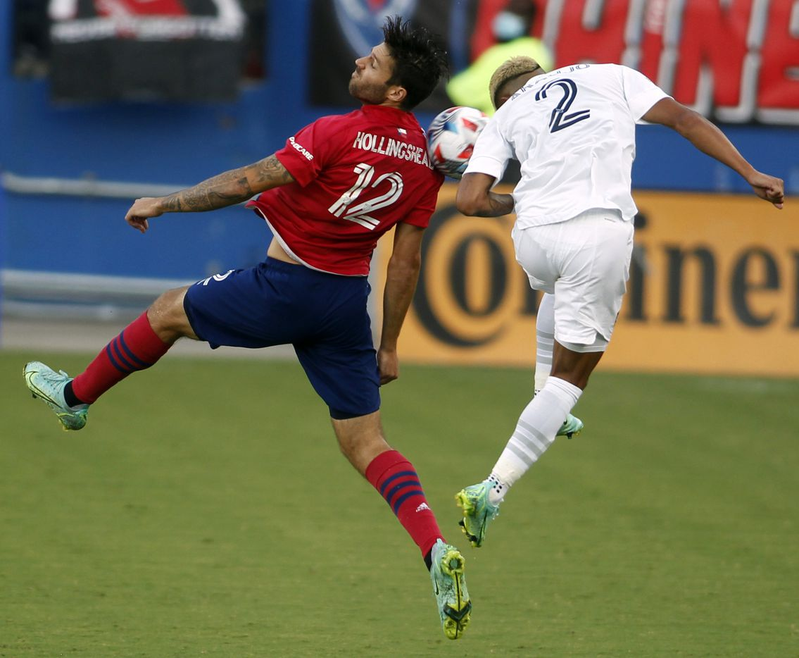 FC Dallas defenseman Ryan Hollingshead (12) challenges LA Galaxy defenseman Julian Araujo (2) for ball possession during second half action. The two teams played their MLS match at Toyota Stadium in Frisco on July 24, 2021. (Steve Hamm/ Special Contributor)