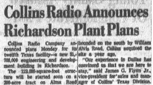 'Collins Radio Announces Richardson Plant Plans' published July 9, 1957.