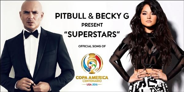 Pitbull y Becky G. Foto oficial de Copa América