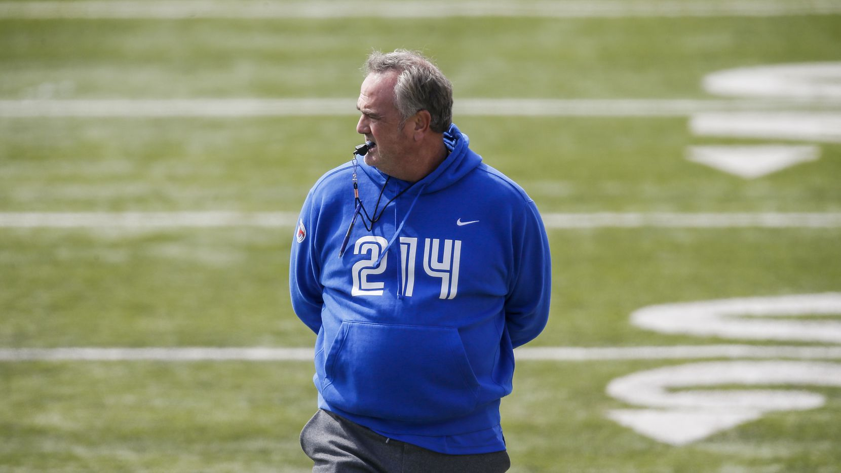 SMU head coach Sonny Dykes looks on during practice at Gerald Ford Stadium, Saturday, April 17, 2021.