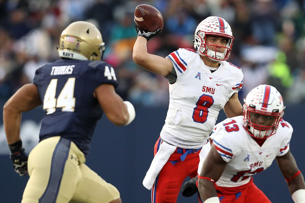 ANNAPOLIS, MD - NOVEMBER 11: Quarterback Ben Hicks #8 of the Southern Methodist Mustangs looks to pass against the Navy Midshipmen during the second quarter at Navy-Marines Memorial Stadium on November 11, 2017 in Annapolis, Maryland. (Photo by Patrick Smith/Getty Images)