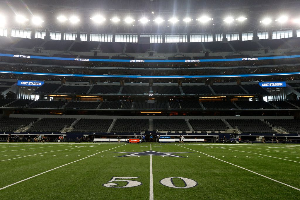 A 50-yard-line view in this general, overall, view, of AT&T Stadium before an NFL football game between the Los Angeles Rams and Dallas Cowboys on Sunday, Oct. 1, 2017, in Arlington.