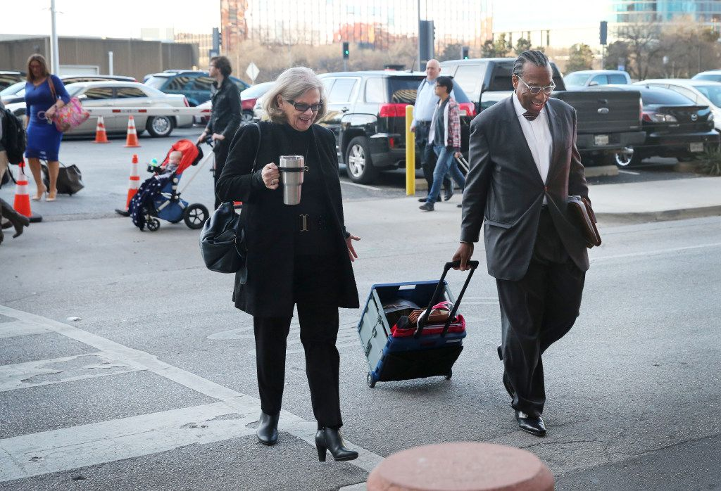 Dallas County Commissioner John Wiley Price arrives with his lawyer Shirley Baccus-Lobel for their bribery trial at the Earle Cable Federal Building and Courthouse in downtown Dallas, Thursday, March 2, 2017.(Rose Baca/The Dallas Morning News)