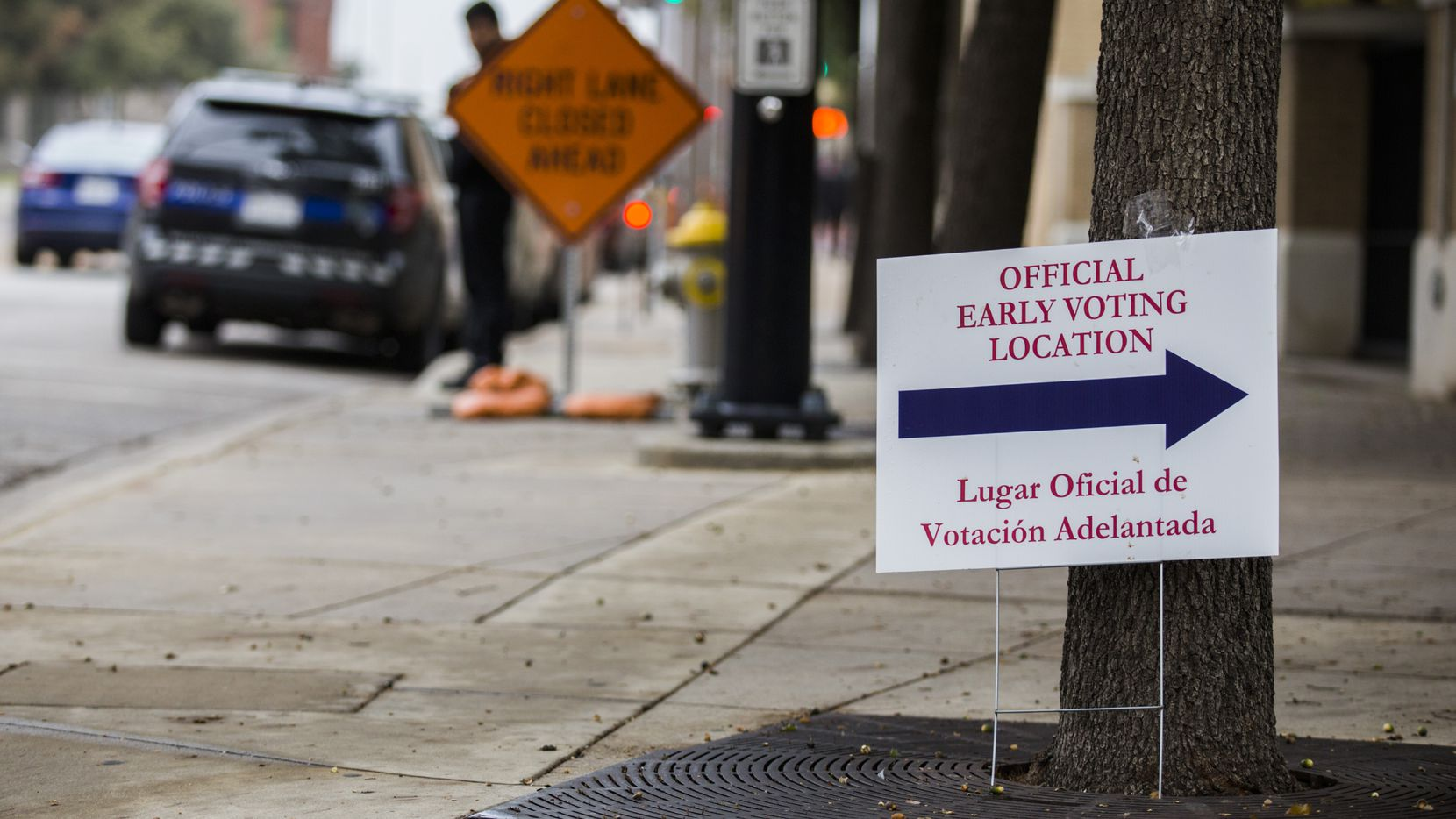 A sign for early voting stands outside El Centro College on Tuesday, October 29, 2019 in downtown Dallas. (Ashley Landis/The Dallas Morning News)