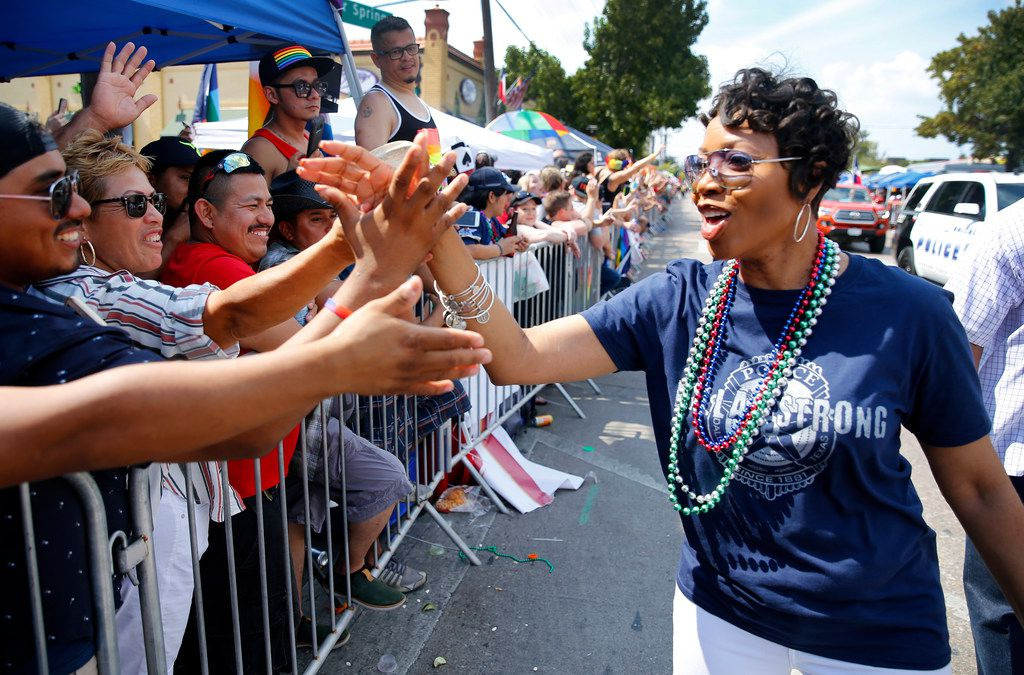 New Dallas Police Chief U. Renee Hall greeted the crowd as she walked the length of the Texas Freedom Parade on Sept. 17, 2017.