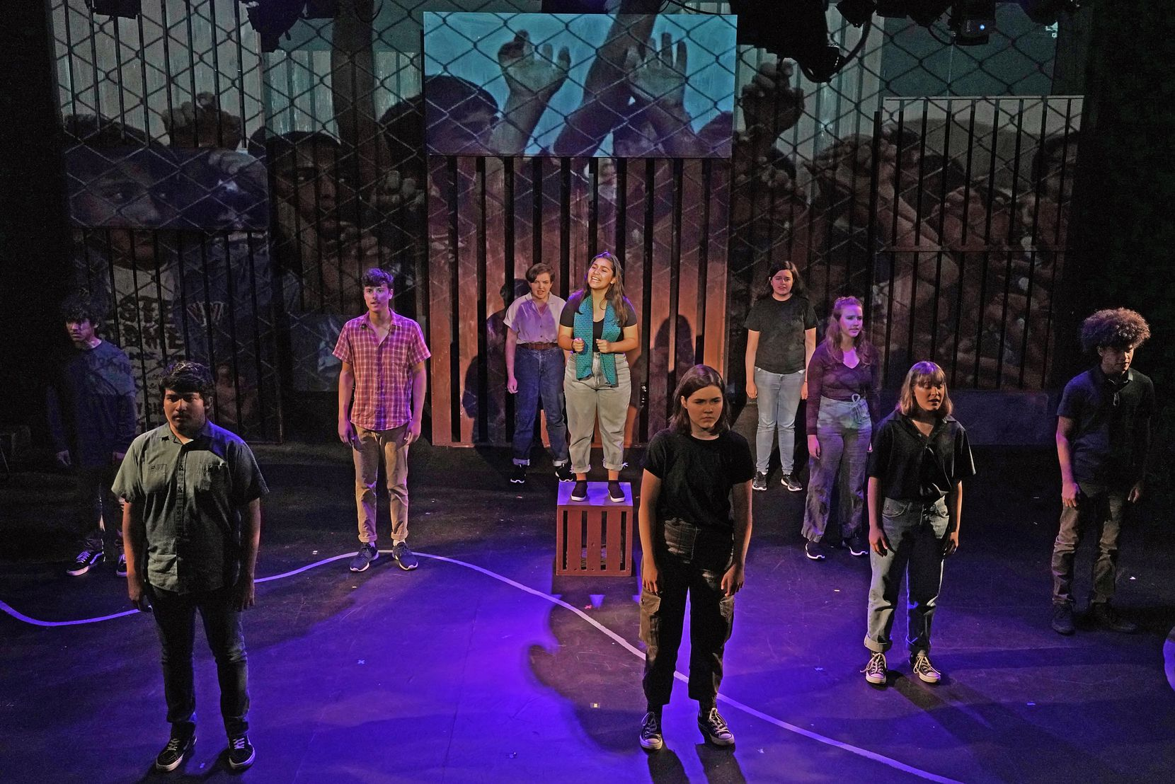 The cast of Cry Havoc Theater Company's Crossing the Line and co-directors Mara Richards Bim and Tim Johnson used the words of the people they interviewed in South Texas and Mexico to create the play about the immigration controversy.
