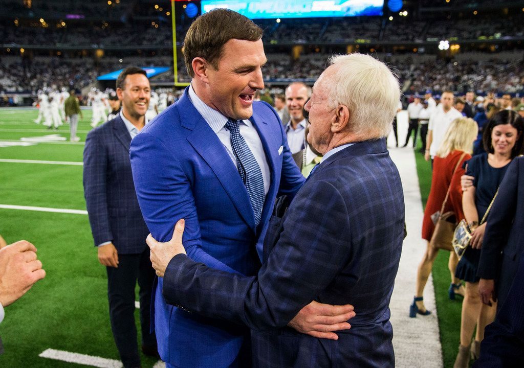 Former Dallas Cowboys tight end Jason Witten hugs Dallas Cowboys owner Jerry Jones before an NFL game between the Dallas Cowboys and the Tennessee Titans on Monday, November 5, 2018 at AT&T Stadium in Arlington, Texas. (Ashley Landis/The Dallas Morning News)