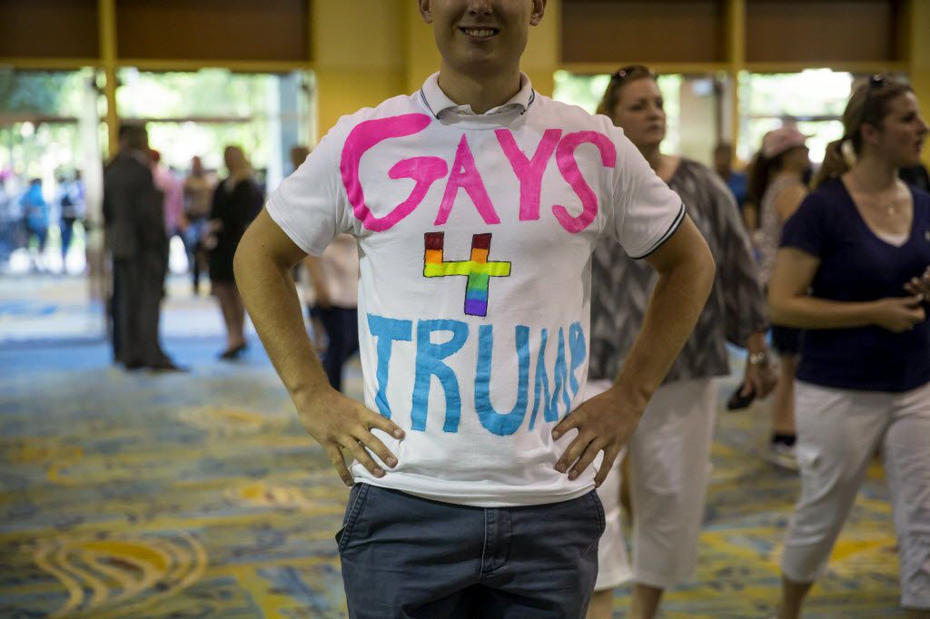 A supporter of Donald Trump, the presumptive Republican presidential nominee, attended a campaign event in The Woodlands last month. Same-sex marriage and transgender rights are emerging as points of serious strain between social conservatives and moderates who are trying to shape the Republican platform, leaving Trump mainly on the sidelines, but offering assurances to both sides.