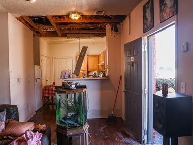 An apartment in Dallas where the kitchen ceiling collapsed due to water damage after snowstorm Uri hit the region is pictured in this file photo. The Garland Housing Finance Corporation recently donated $50,000 to Garland to assist residents with making repairs following the snowstorm.