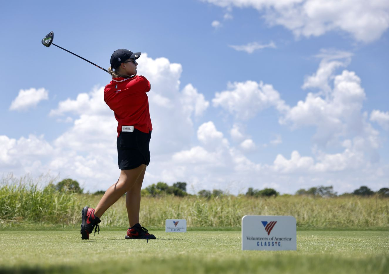 Amateur golfer Avery Zweig, 14, of McKinney tees off on No. 1 during her opening round of the LPGA VOA Classic at the Old American Golf Club in The Colony, Texas, Thursday, July 1, 2021. (Tom Fox/The Dallas Morning News)
