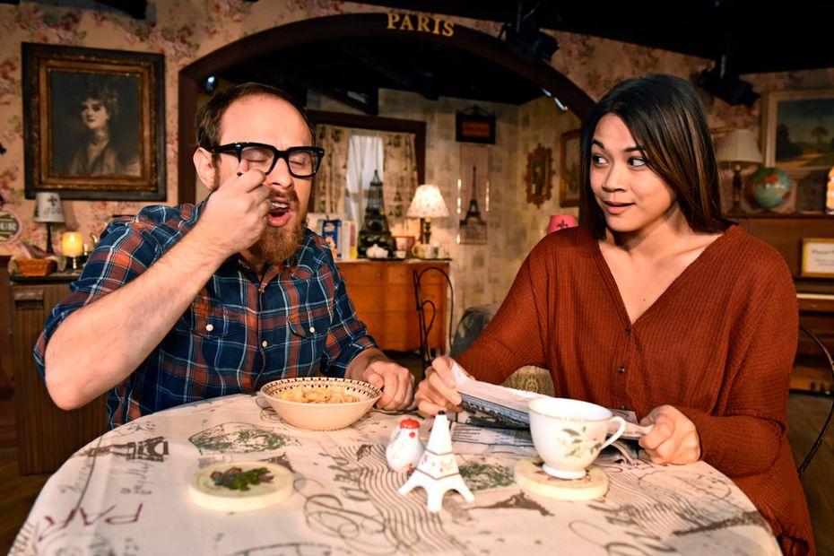 "Scott Zenreich (Elias) and Olivia de Guzman (Jenny) star in ""John"" at Undermain Theatre in Dallas."