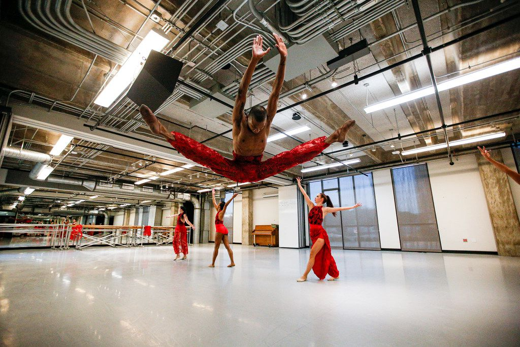 """Dancer Xavier Santafield rehearses """"Nissi"""" with fellow B. Moore Dance company members, at Booker T. Washington High School for the Performing Arts in Dallas on Aug. 26, 2019."""