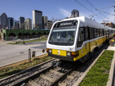 The Northbound DART train stops in the Deep Ellum neighborhood on Wednesday, March 24, 2021, in Dallas. (Lynda M. González/The Dallas Morning News)