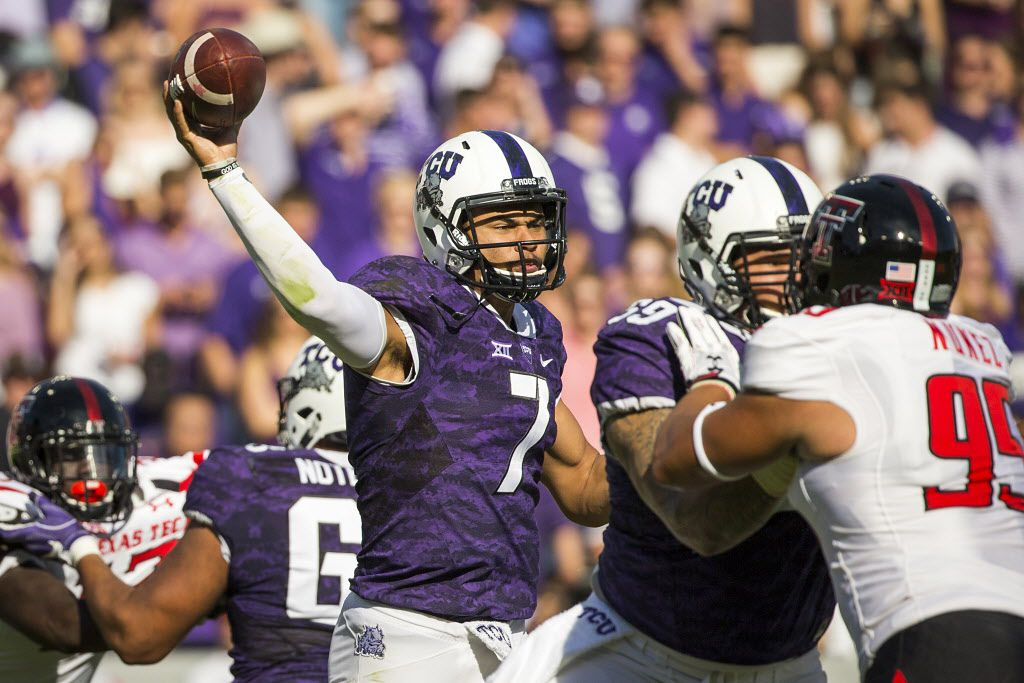 TCU quarterback Kenny Hill (7) throws a pass under pressure from Texas Tech defensive lineman Talor Nunez (95) during the first half of an NCAA football game at Amon G. Carter Stadium on Saturday, Oct. 29, 2016, in Fort Worth. (Smiley N. Pool/The Dallas Morning News)