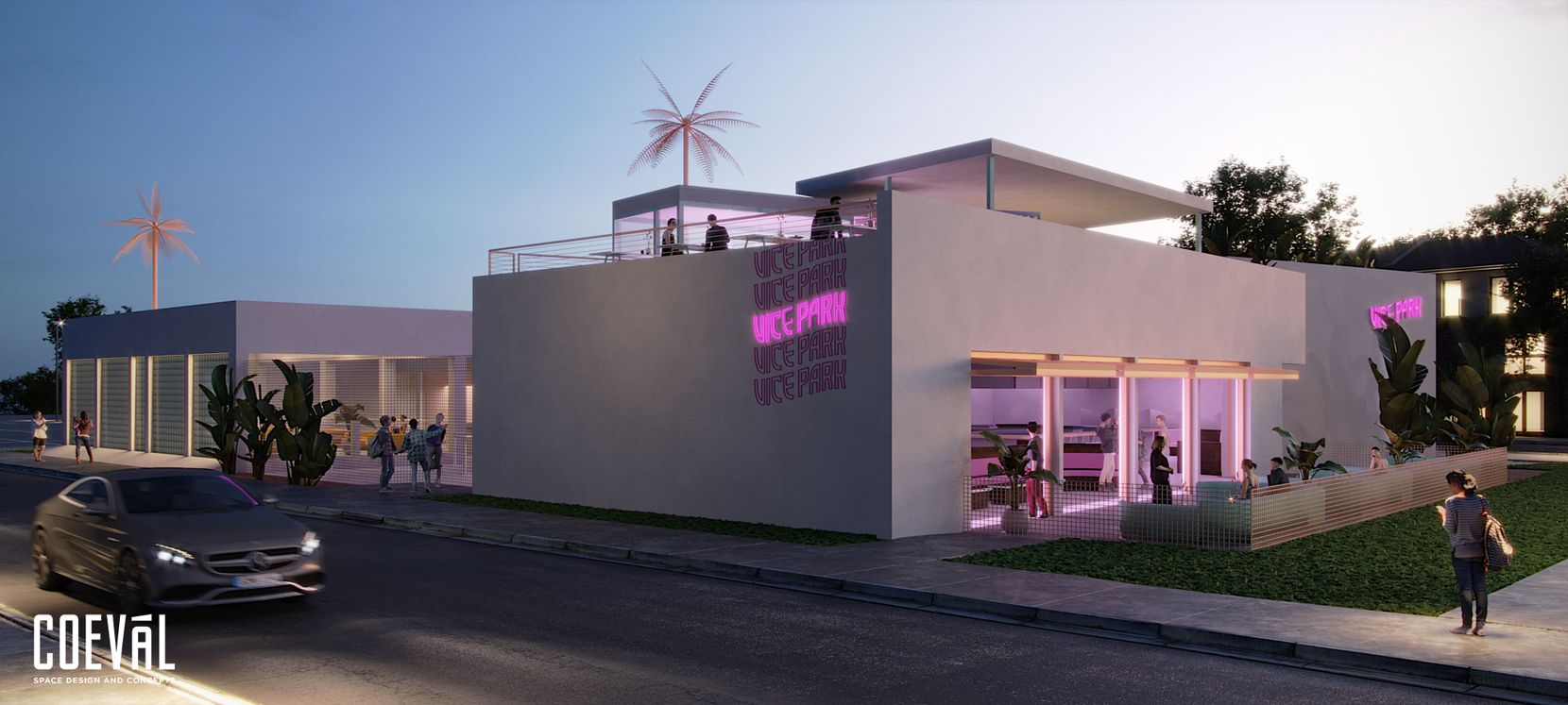 Vice Park has Miami Vice vibes. The complex is expected to open in Dallas in fall 2021.