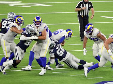 Aldon Smith #58 of the Dallas Cowboys sacks Jared Goff #16 of the Los Angeles Rams during the second half at SoFi Stadium on September 13, 2020 in Inglewood, California.