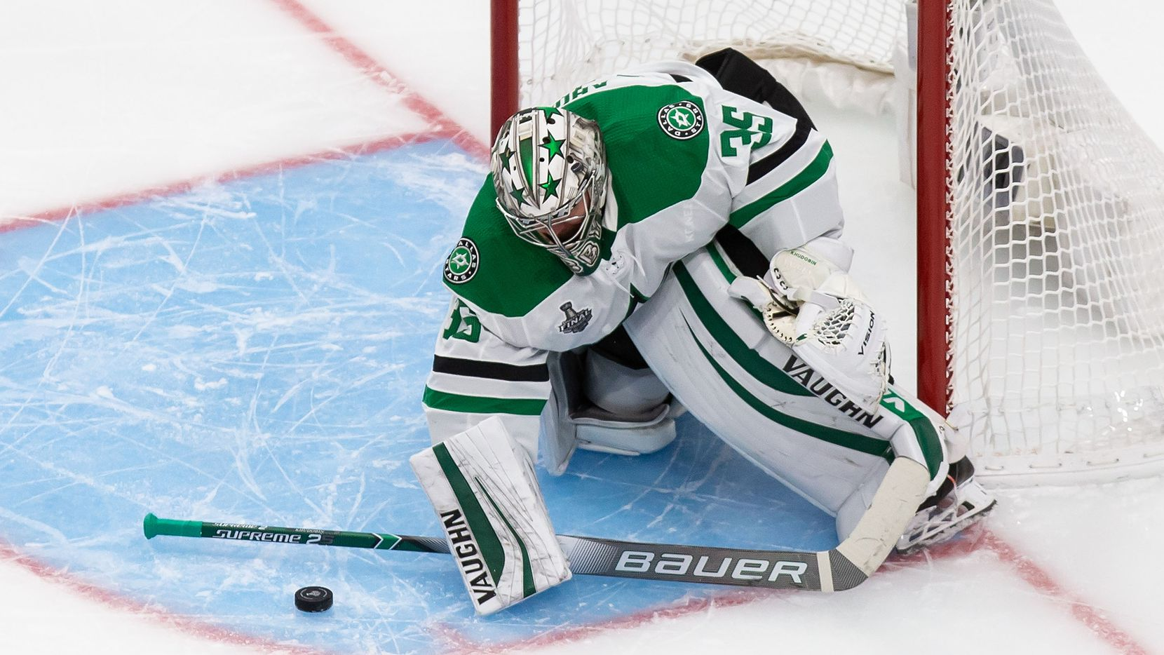 Goaltender Anton Khudobin (35) of the Dallas Stars makes a save against the Tampa Bay Lightning during Game Five of the Stanley Cup Final at Rogers Place in Edmonton, Alberta, Canada on Saturday, September 26, 2020.