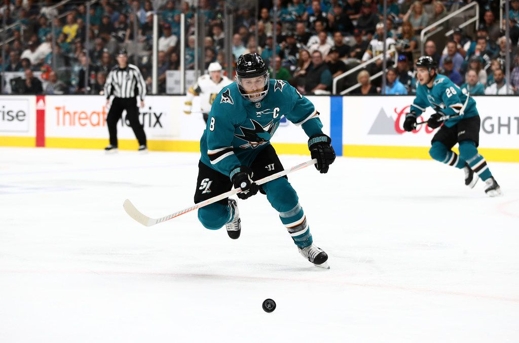 SAN JOSE, CALIFORNIA - APRIL 23:  Joe Pavelski #8 of the San Jose Sharks in action against the Vegas Golden Knights in Game Seven of the Western Conference First Round during the 2019 NHL Stanley Cup Playoffs at SAP Center on April 23, 2019 in San Jose, California.