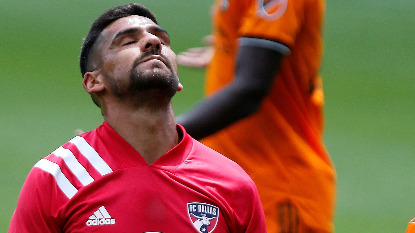 FC Dallas forward Franco Jara (29) reacts to a missed shot on goal during the first half as FC Dallas hosted the Houston Dynamo at Toyota Stadium in Frisco on May 8, 2021.