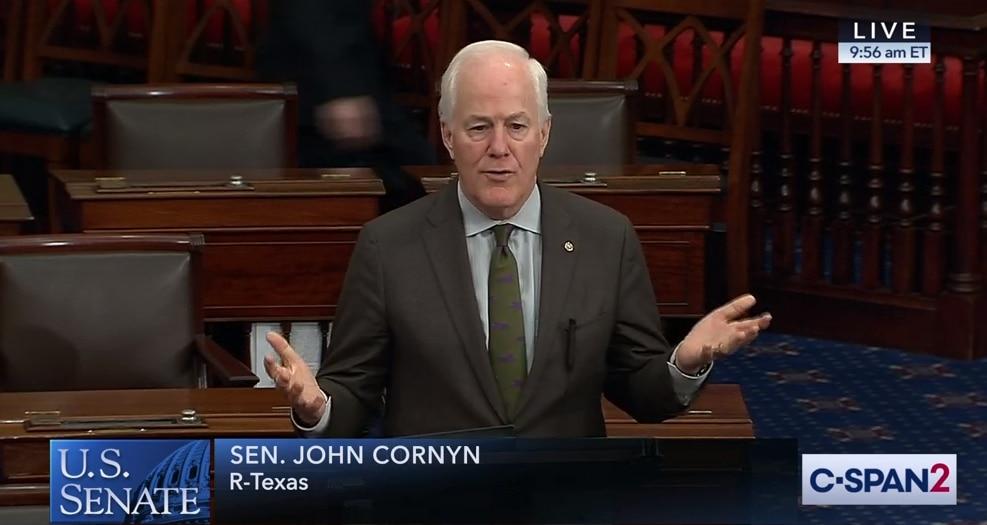 Sen. John Cornyn speaks on the Trump impeachment on Feb. 5, 2020.