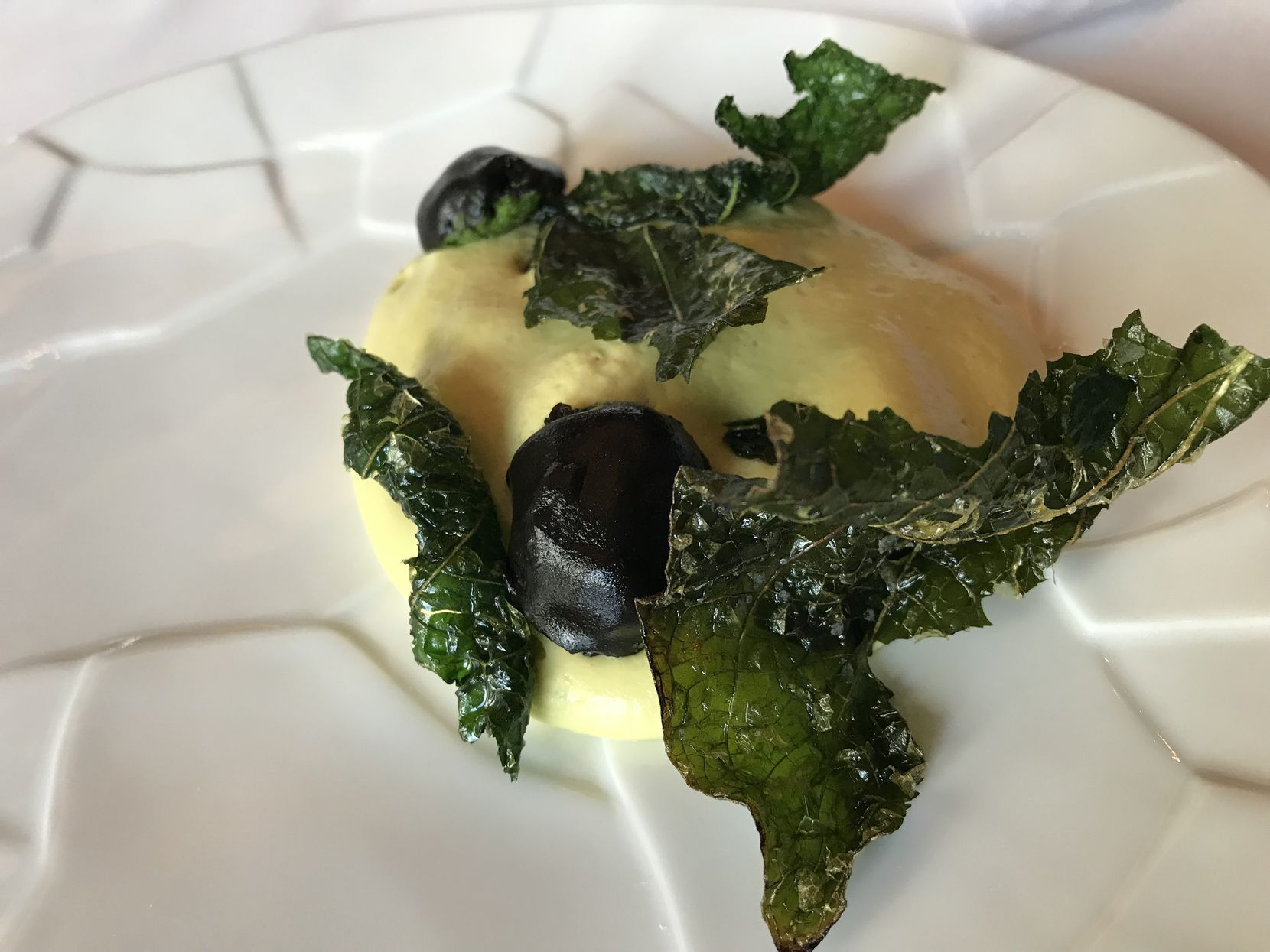 Poblano mousse with huitlacoche glaze and fried hoja santa, served by Diego Fernandez during his tryout dinner.