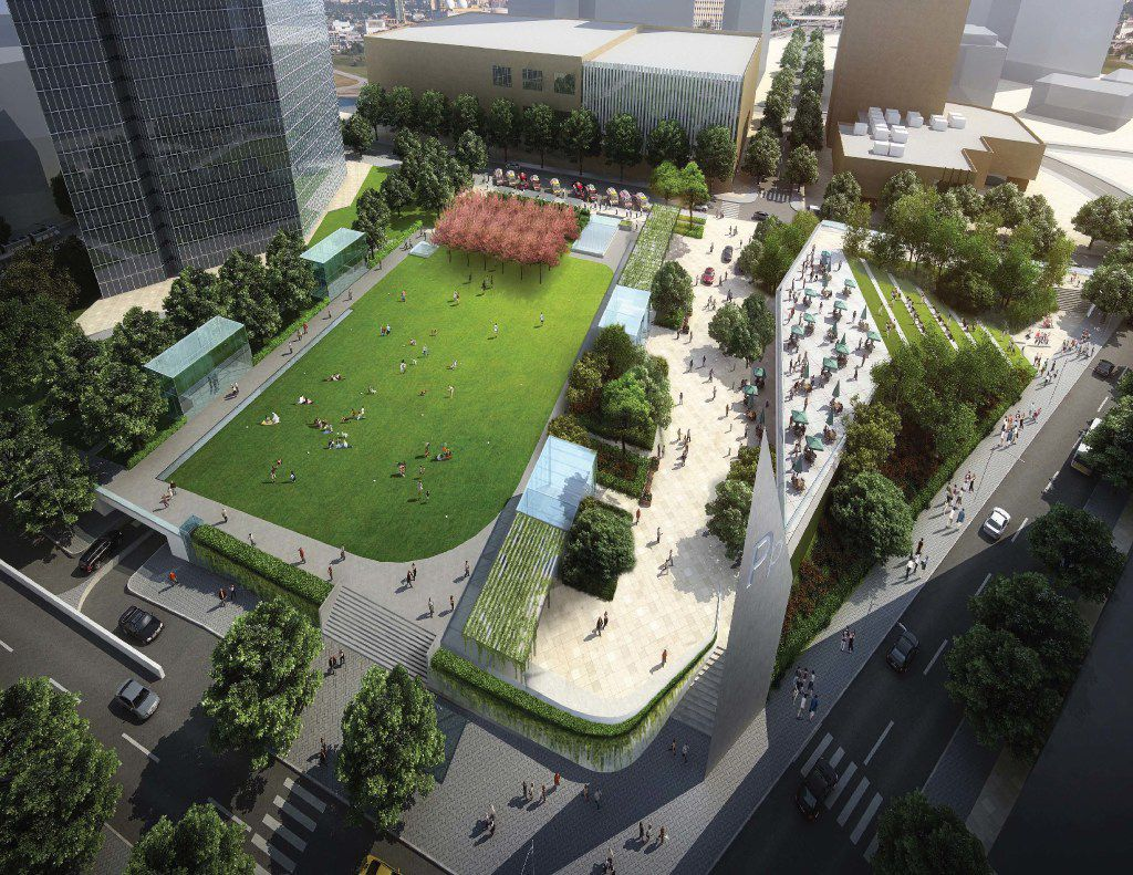 A rendering shows 4P Partners' plan for a parking garage topped by a park at Pacific Plaza in downtown Dallas.