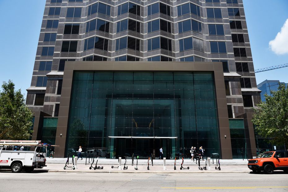 The 2-story framed entry to Trammell Crow Center's  main entrance.