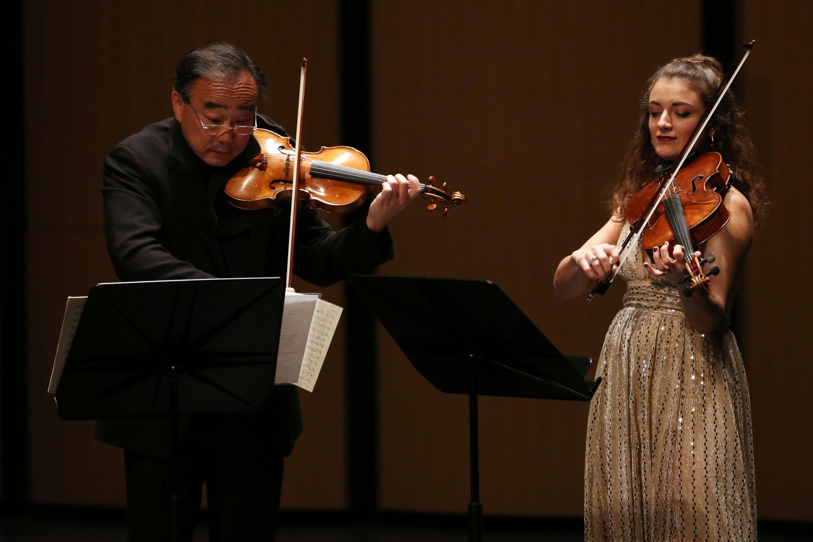 Violinist Cho-Liang Lin (left) and violist Milena Pajaro-van de Stadt perform in a Chamber Music International concert at Moody Performance Hall in Dallas on Friday, Dec. 6, 2019.