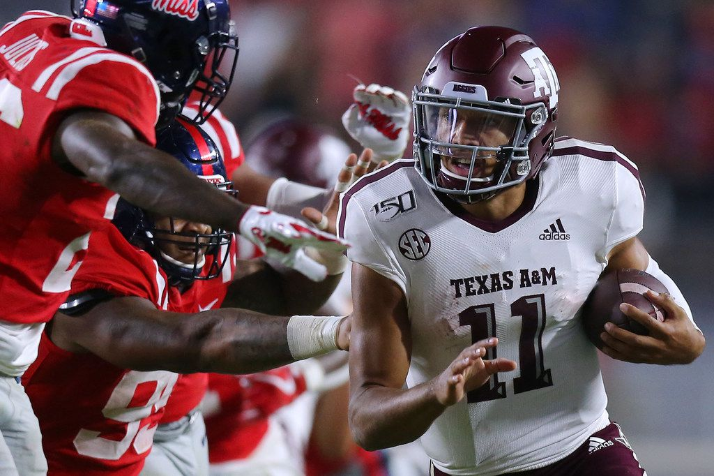 OXFORD, MISSISSIPPI - OCTOBER 19: Kellen Mond #11 of the Texas A&M Aggies runs with the ball during the second half against the Mississippi Rebels at Vaught-Hemingway Stadium on October 19, 2019 in Oxford, Mississippi.